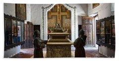 The Serra Cenotaph In Carmel Mission Beach Towel