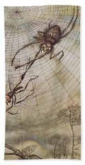The Spider And The Fly Beach Sheet by Arthur Rackham
