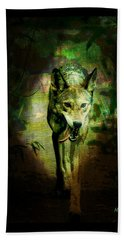 Beach Towel featuring the digital art The Spirit Of The Wolf by Absinthe Art By Michelle LeAnn Scott