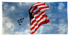 The Star Spangled Banner Yet Waves Beach Towel by Lydia Holly