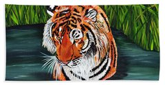 Beach Towel featuring the painting The Stare by Laura Forde