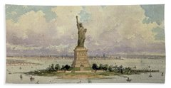 The Statue Of Liberty  Beach Towel