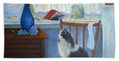The Studio Cat Beach Towel by Loretta Luglio