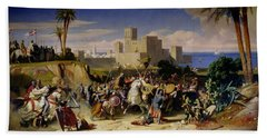 The Taking Of Beirut By The Crusaders Beach Sheet by Alexandre Jean Baptiste Hesse