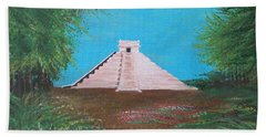 Beach Towel featuring the painting The Temple Of Kukulcan by Alys Caviness-Gober