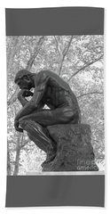 The Thinker - Philadelphia Bw Beach Towel