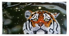 The Tiger In Winter Beach Sheet