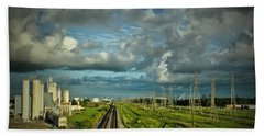 The Train Yard Beach Towel by Linda Unger