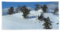 The Trees Take A Snow Day Beach Towel by Michele Myers