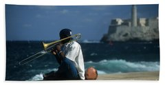 The Trombonist Beach Towel