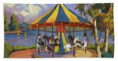 The Village Carousel At Lake Arrowhead Beach Towel
