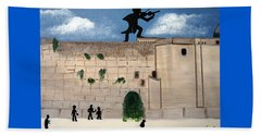 Beach Towel featuring the painting The  Western Wall And Fiddler On The Roof by Nora Shepley