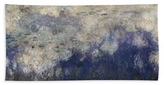 The Waterlilies - The Clouds Central Section 1915-26 Oil On Canvas See Also 64184 & 64186 Beach Towel