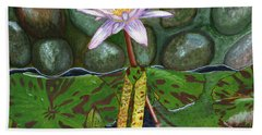 Beach Towel featuring the painting The Waterlily by Laura Forde