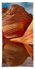 Beach Towel featuring the photograph The Wave With Reflection by Jerry Fornarotto