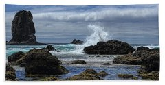 The Waves At Haystack Rock Beach Towel