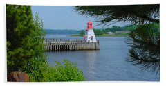 The Wharf And Lighthouse In St. Stephen Nb Beach Towel