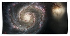 The Whirlpool Galaxy M51 And Companion Beach Towel by Adam Romanowicz