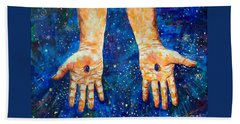 The Whole World In His Hands Beach Towel by Lou Ann Bagnall