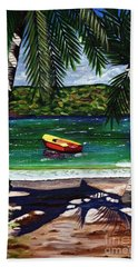 The Yellow And Red Boat Beach Towel by Laura Forde