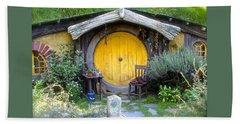 Yellow Hobbit Door Beach Sheet