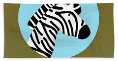 The Zebra Cute Portrait Beach Towel by Florian Rodarte
