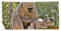 There Is Nothing Like A  Backscratch - Monkeys Rishikesh India Beach Towel