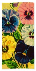 Pansy Flowers Antique Packaging Label  Beach Towel