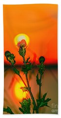 Thistle At Sunset Beach Towel