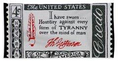 Thomas Jefferson American Credo Vintage Postage Stamp Print Beach Sheet