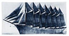 Thomas W. Lawson Seven-masted Schooner 1902 Beach Towel