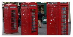 Those Red Telephone Booths Beach Sheet