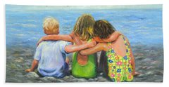 Three Beach Children Hugging Beach Towel