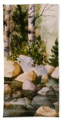 Three Birch By Rocky Stream Beach Towel