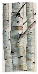 Three Birch Trees Beach Towel
