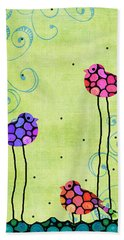 Three Birds - Spring Art By Sharon Cummings Beach Towel by Sharon Cummings