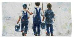 Three Boys Going Fishing Beach Towel