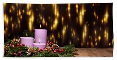 Three Candles In An Advent Flower Arrangement Beach Towel
