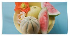 Three Different Melons In Bowl (overhead View) Beach Towel
