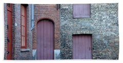 Three Doors And Two Windows Bruges, Belgium Beach Towel
