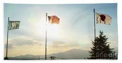 Three Flags Of Camp Zama 8 Beach Towel