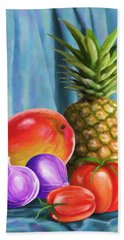 Three Fruits And A Vegetable Beach Towel by Anthony Mwangi