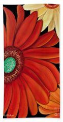 Beach Towel featuring the painting Three Gerbera by Barbara McMahon