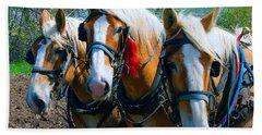 Three Horses Break Time  Beach Towel