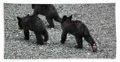 Beach Towel featuring the photograph Three Little Bears In Step by Jan Dappen