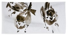 Three Little Birds Perch By My Doorstep Beach Towel
