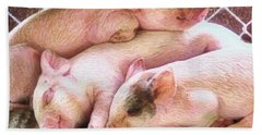 S Three Little Piglets - Square Beach Towel