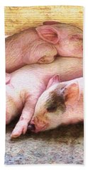 V Three Little Piglets - Vertical Beach Towel