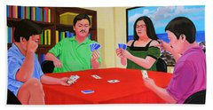 Three Men And A Lady Playing Cards Beach Sheet by Cyril Maza