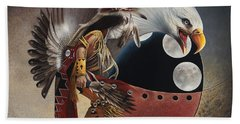 Three Moon Eagle Beach Towel by Ricardo Chavez-Mendez